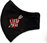 Black I Love You Adult Washable Mask