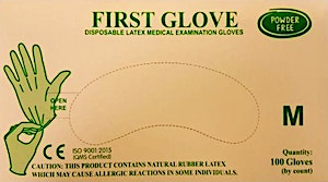 First Gloves Powder Free Medium  - 100 Pcs