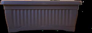 Plastic Black Rectangular Pot + Plate 40x20 cm