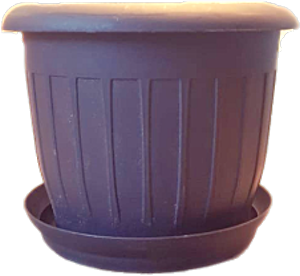 Plastic Black Deep Round Pot + Plate 20 cm