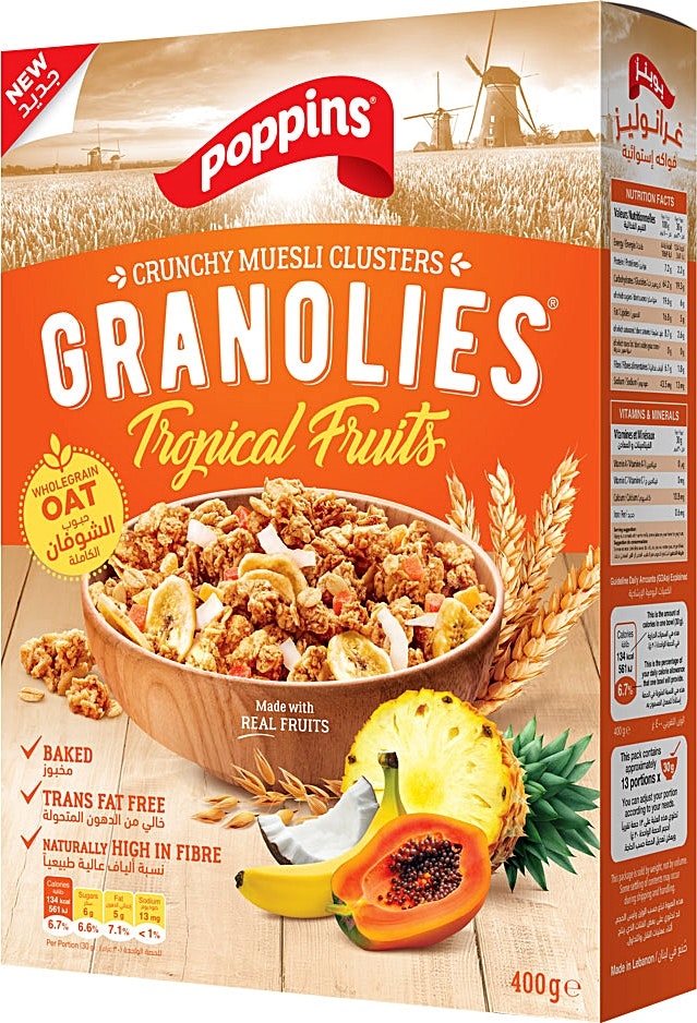 Poppins Granolies Tropical Fruits 400 g