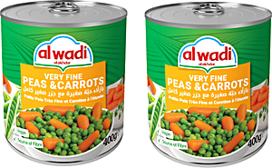 Alwadi Alakhdar Very Fine Peas & Carrots 2x400g 20% OFF