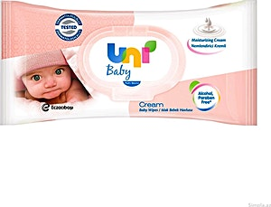 Uni Baby Cream Wipes 56's