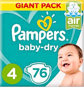 Pampers Dry Diapers Size 4 76's