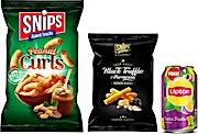 Snips Peanut Curls 120 g & Black Truffle 90 g Combo + Free Ice Tea Exotic
