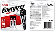 Energizer Battery Max AAA 2's