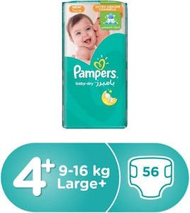 Pampers Dry Diapers Size 4+ 56's
