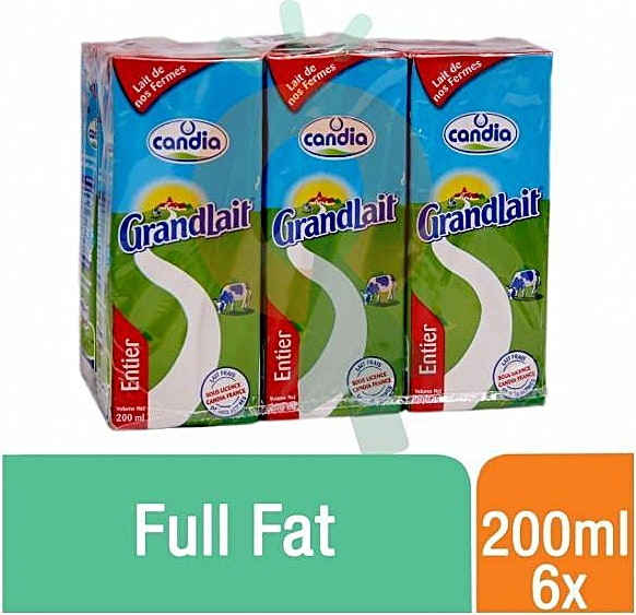 Candia UHT Milk Full Fat 200 ml-Pack Of 6