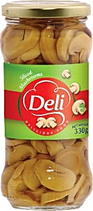 Deli Sliced Mushrooms Jar 330 g