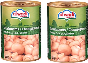 Alwadi Alakhdar Whole Mushrooms 2 x 400 g @20% OFF