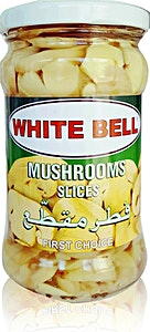 White Bell Mushrooms Slices Jar 280 g