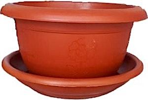 Plastic Brown Shallow Round Pot + Plate 19 cm