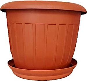 Plastic Brown Deep Round Pot + Plate 20 cm