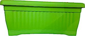 Plastic Green Rectangular Pot + Plate 40x20 cm