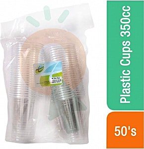 Plastic Transparent Cups 350 cc x 50's